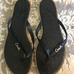 Coach Shoes - Preloved Coach Black Patent Leather Sandals flips